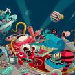 """Ilustración para el """"Confe"""" de Gran Hermano Revolution (18). Un progetto di Direzione artistica e Illustrazione di Óscar Lloréns - 27.09.2017"""