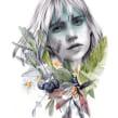 "Portada editorial. ""Ocho"" de Rebeca Stones.. A Illustration, Editorial Design, and Portrait illustration project by Beatriz Ramo (Naranjalidad) - 06.15.2017"