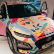 Hyundai. Presentación del nuevo coche en Madrid, noviembre de 2017. . Um projeto de Ilustração e Pintura de Beatriz Ramo (Naranjalidad) - 04.11.2017