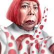 Yayoi Kusama. Un proyecto de Pintura a la acuarela, Ilustración de retrato, Dibujo de Retrato, Dibujo realista y Dibujo artístico de Carlos Rodríguez Casado - 11.07.2019