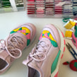 Upcycled trainers with embroidery. A Embroider project by Kseniia Guseva - 02.28.2020