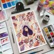 Floral duotone. Un proyecto de Ilustración, Pintura a la acuarela e Ilustración con tinta de Alinailustra - 29.07.2019