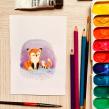 Family - Gouache painting. Un proyecto de Ilustración y Pintura a la acuarela de Alinailustra - 21.09.2018