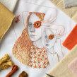 Autorretrato bordado. A Illustration, Porträtillustration, Stickerei und Porträtzeichnung project by Yamila Yjilioff - 10.05.2020