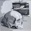 Calavera en blanco y negro al óleo.. Un proyecto de Pintura al óleo de Ale Casanova - 20.11.2020