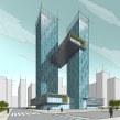 Twin Towers Digital Sketch. Un proyecto de Arquitectura, Bocetado, Ilustración digital e Ilustración arquitectónica de Ehab Alhariri - 29.03.2021