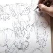 Elephants From Imagination. A Illustration, Bleistiftzeichnung, Zeichnung und Artistische Zeichnung project by Tom Fox - 05.07.2021