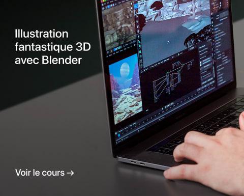 Illustration fantastique 3D avec Blender. Un cours de Brellias.