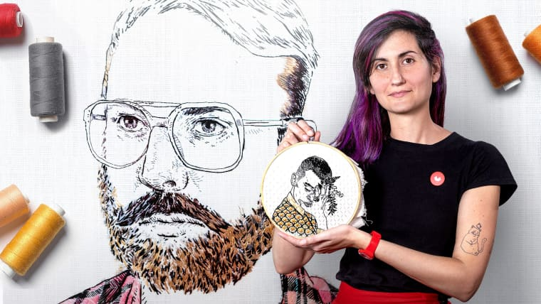 Creation of Embroidered Portraits