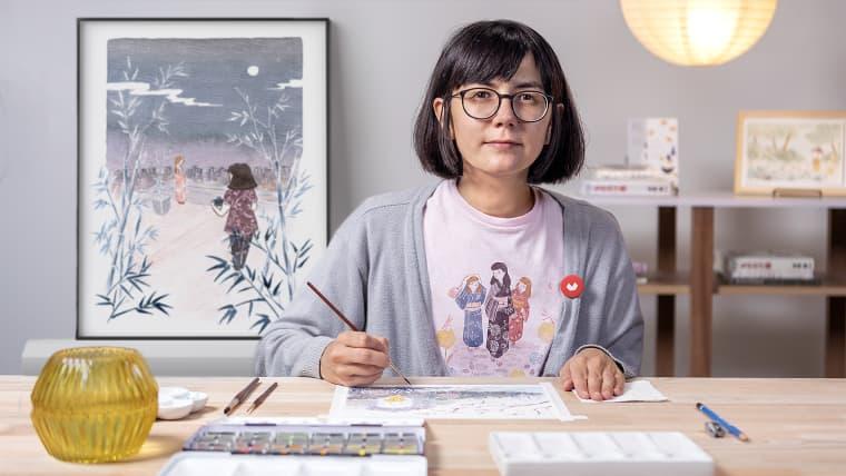 Illustration à l'aquarelle dans le style japonais