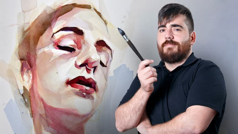 Artistic Portrait with Watercolors