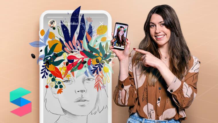 Illustrierte Filter für Facebook- und Instagram-Geschichten