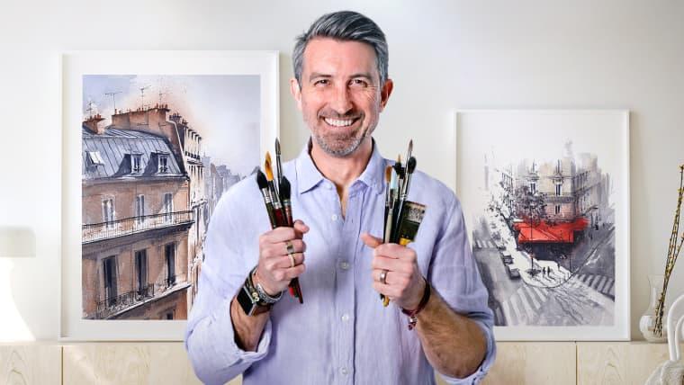 Dessin architectural à l'aquarelle et à l'encre