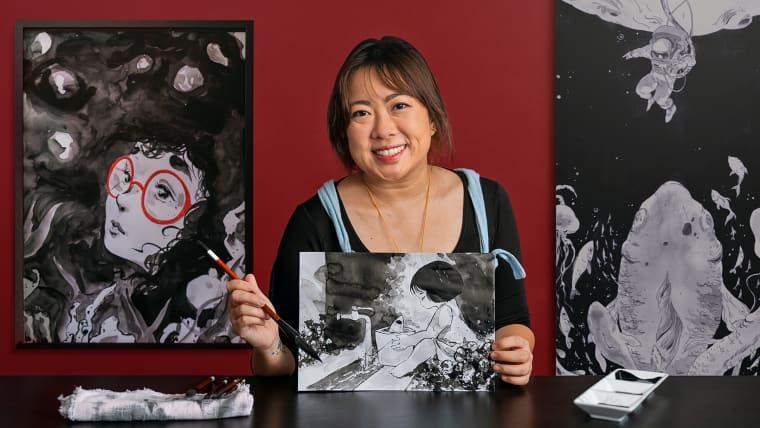 Ilustração em nanquim com influência japonesa