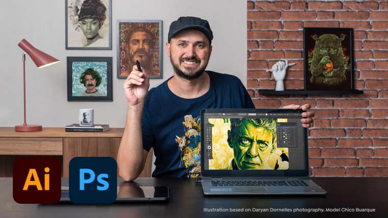 Técnicas de ilustração de retratos com Illustrator e Photoshop