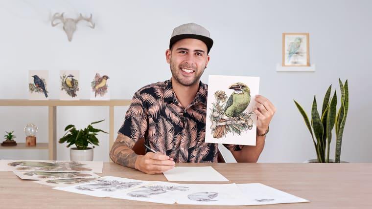 Naturalist Illustration with Ballpoint Pen