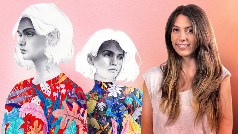Portrait with Pencil, Color Techniques and Photoshop