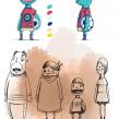 Diseño de personajes para Spot de TV. Un proyecto de Ilustración, Animación y Diseño de personajes de Óscar Lloréns - 24.07.2012