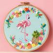 """""""Tropical Flamingo"""" Molliemakes. Un proyecto de Ilustración, Dirección de arte, Artesanía, Ilustración vectorial y Bordado de Señorita Lylo - 01.09.2016"""