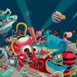 """Ilustración para el """"Confe"""" de Gran Hermano Revolution (18). A Illustration, and Art Direction project by Óscar Lloréns - 09.27.2017"""