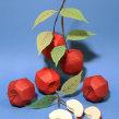Paper fruits: Apple. Um projeto de Ilustração, 3D, Animação, Paisagismo e Papercraft de Diana Beltran Herrera - 07.12.2017