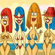Las chicas de la playa. Un proyecto de Ilustración digital de Ed Vill - 05.04.2019