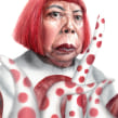 Yayoi Kusama. A Watercolor Painting, Portrait illustration, Portrait Drawing, Realistic drawing, and Artistic drawing project by Carlos Rodríguez Casado - 07.11.2019