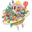 Semana de la infancia. Ayuntamiento de Madrid. Um projeto de Ilustração de Óscar Lloréns - 01.09.2020