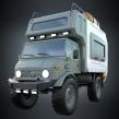 Unimog Camper - concept. Um projeto de Design de automóveis de Diego Fernández - 10.11.2020