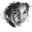 Loose watercolour portrait in black . Um projeto de Pintura em aquarela de Sarah Stokes - 31.03.2021