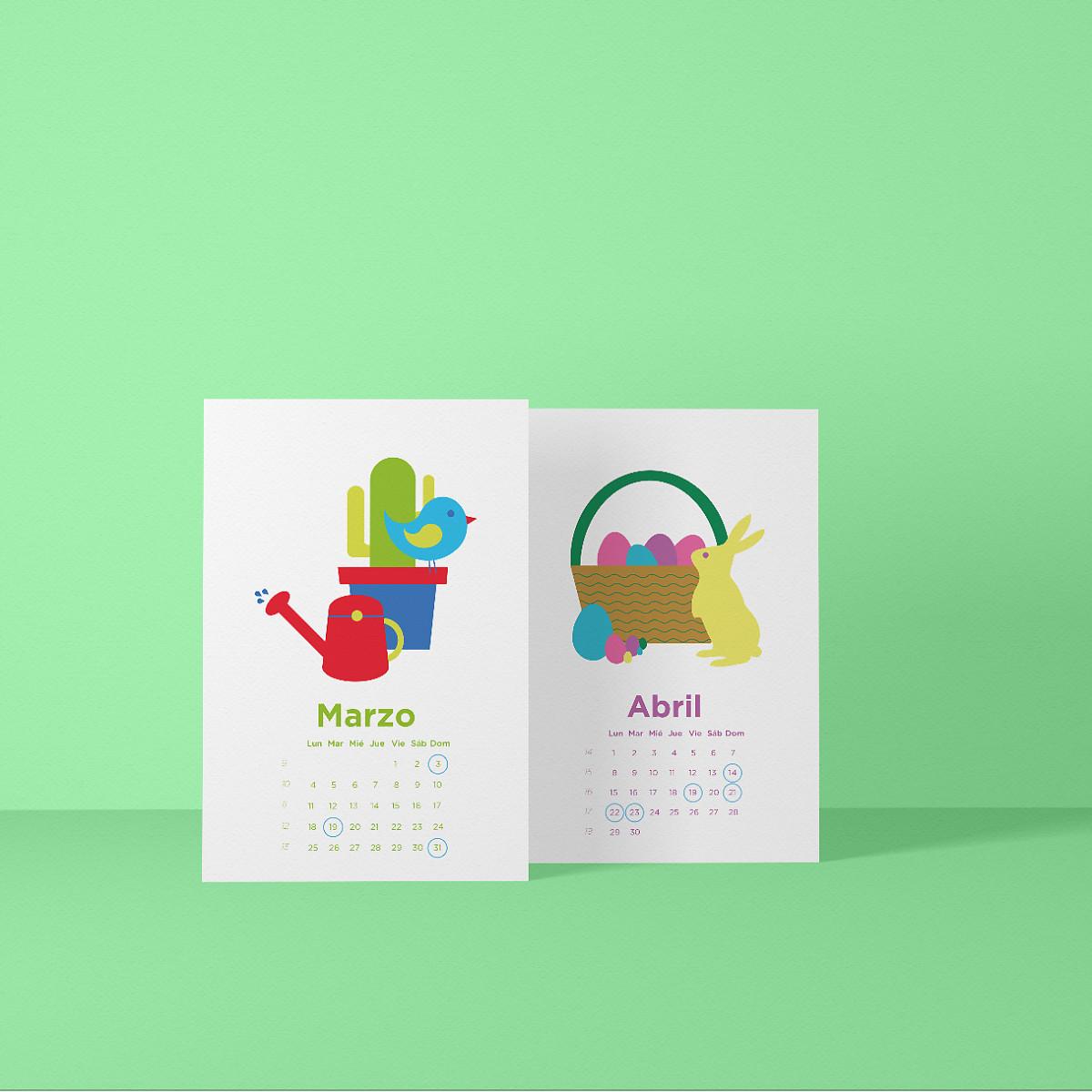 Calendario Indesign.Calendario Ilustrado 2019 Domestika