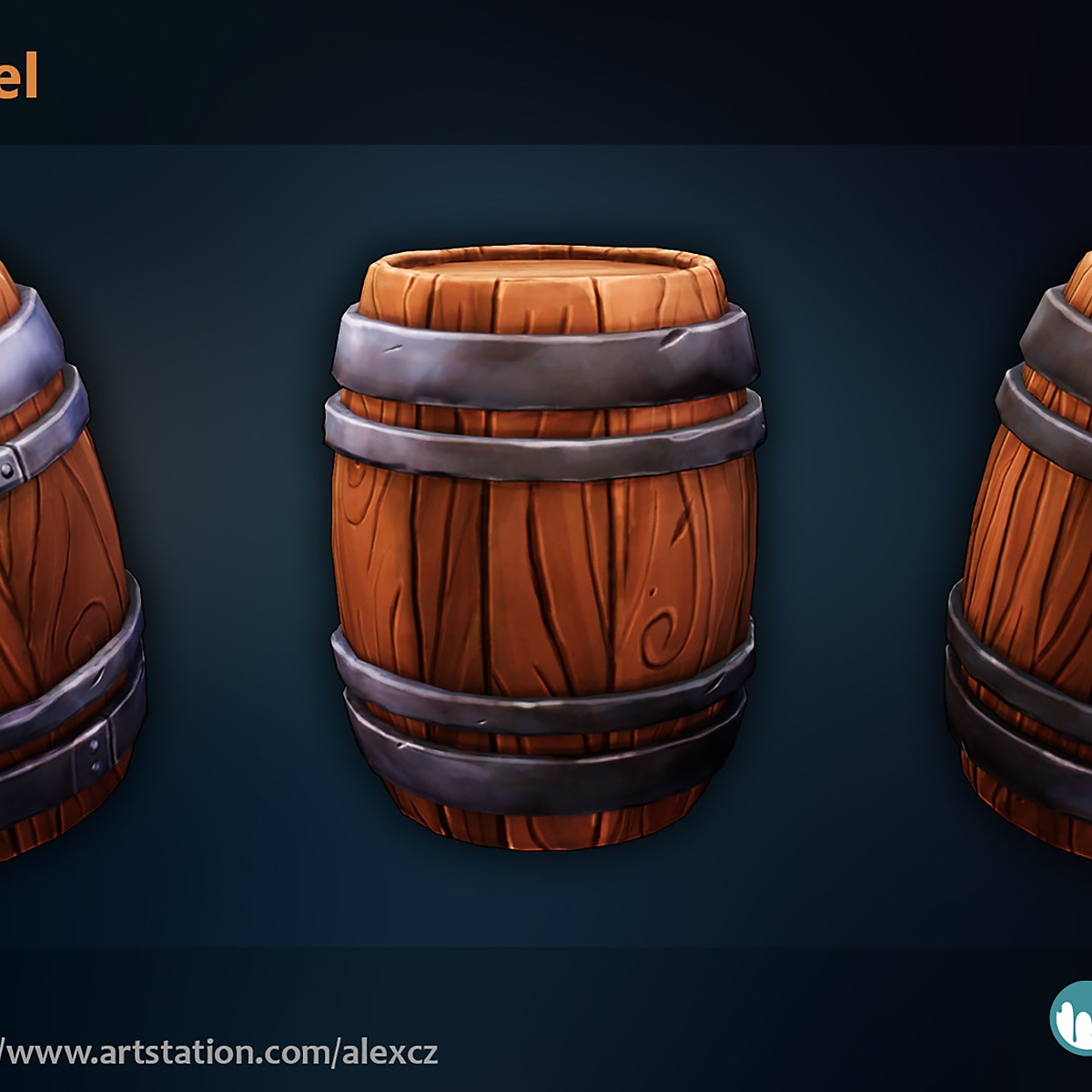 Stylized Wooden Barrel Prop Domestika