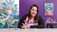 Técnicas para colorir desenho mangá com marcadores. Um curso de Ilustração de Tania Oksentiuk