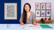 Padrões florais vibrantes com aquarela. Um curso de Ilustração de Anna Lau
