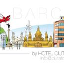 Skyline Barcelona para Hotel Ciutat de Sant Adrià. Un proyecto de Ilustración de Guixarades - 17.03.2014