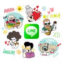 LINE Stickers - A Summer Crew. Un proyecto de Diseño, Dirección de arte y Diseño de personajes de Alejandra Morenilla - 14.07.2014