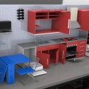 Diseño de cocina 3D. Un proyecto de 3D, Diseño de muebles y Diseño industrial de Alberto Sánchez Bermejo - 21.04.2012