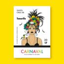 """""""Canaria"""" Cartel Carnaval Tenerife'17 / Prototipo / A1. Un proyecto de Diseño gráfico e Ilustración vectorial de Amparo Górriz - 28.05.2017"""