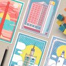 Skyline en Málaga - Set de postales. Um projeto de Arquitetura, Ilustração e Ilustração vetorial de Estudio Extramuros - 18.06.2017