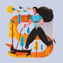 Ilustración - Canicross Gorraiz 2017. Un proyecto de Diseño, Ilustración, Diseño de personajes, Diseño gráfico e Ilustración vectorial de Concepción Domingo Ragel - 14.11.2017
