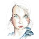 Niña con pez: Retrato ilustrado en acuarela. Um projeto de Ilustração de Lourdes Alonso Carrión - 16.12.2017