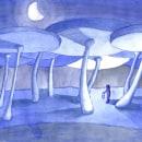 Paisaje in blues!. Un proyecto de Ilustración de Alejandro Bottini - 17.01.2018