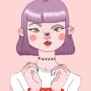 Pink ladies. Um projeto de Ilustração, Ilustração de retrato, Ilustração digital e Ilustração vetorial de Olga M. - 30.06.2018