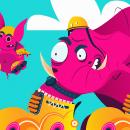 ROLLING ELEPHANTS. Um projeto de Ilustração, Animação, Direção de arte, Design gráfico e Ilustração vetorial de Lalo Garcia - 24.08.2018