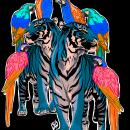 Tigers and parrots. Un proyecto de Diseño, Ilustración, Bellas Artes, Diseño gráfico, Pintura, Arte urbano, Bocetado, Creatividad, Dibujo e Ilustración digital de Isa - 17.11.2018