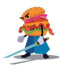 Samurai Burger. Un proyecto de Ilustración, Diseño de personajes, Bellas Artes, Dibujo e Ilustración digital de Daniel Zapata Viciana - 23.01.2019