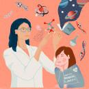 Día internacional de la mujer y la niña en la ciencia 11F. A Design, Illustration, Kreativität, Plakatdesign und Concept Art project by Rebeca Zarza - 11.02.2019