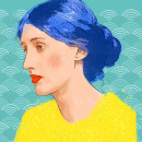 Mujeres brillantes de pelo azul. A Portrait illustration, and Digital illustration project by Xana Morales - 03.29.2019