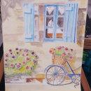 Playa, flores y bici - Mi primer trabajo en acuarela.. Um projeto de Pintura em aquarela de Ruth Medina Barrientos - 15.04.2019