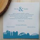 Invitación Boda - Skyline (Valencia). Un proyecto de Diseño, Ilustración, Eventos, Diseño gráfico e Ilustración digital de Mònica Prieto Turró - 01.01.2018